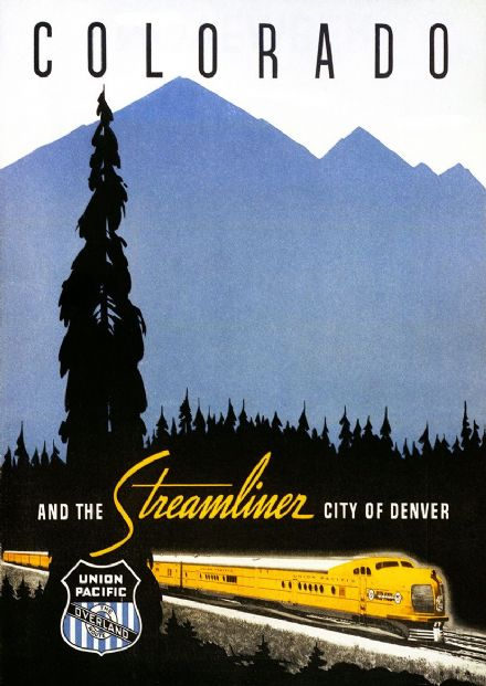 Chicago & NW Union Pacific Railroad Denver Colorado Streamliner Vintage Travel Print/Poster (5180)